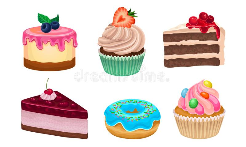 Yummy Sweet Desserts Vector Illustration Set Isolated On White Background. Collection Of Different Creamy Treatment Concept stock illustration