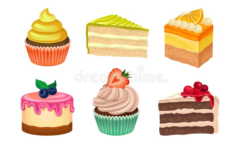 Yummy Sweet Desserts Vector Illustration Set Isolated On White Background. Collection Of Different Creamy Treatment Concept royalty free illustration