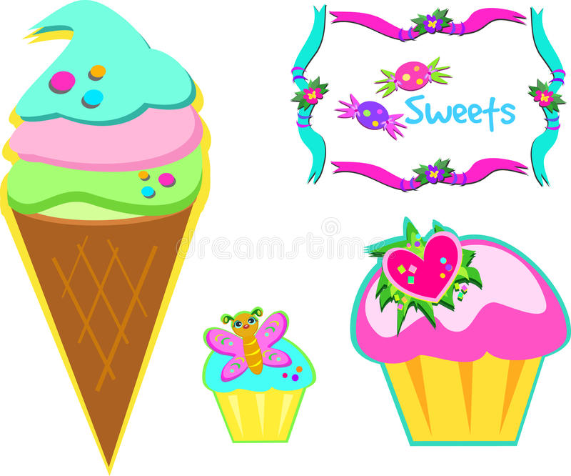 Download Yummy Sweets stock vector. Illustration of desserts, frame - 19384365