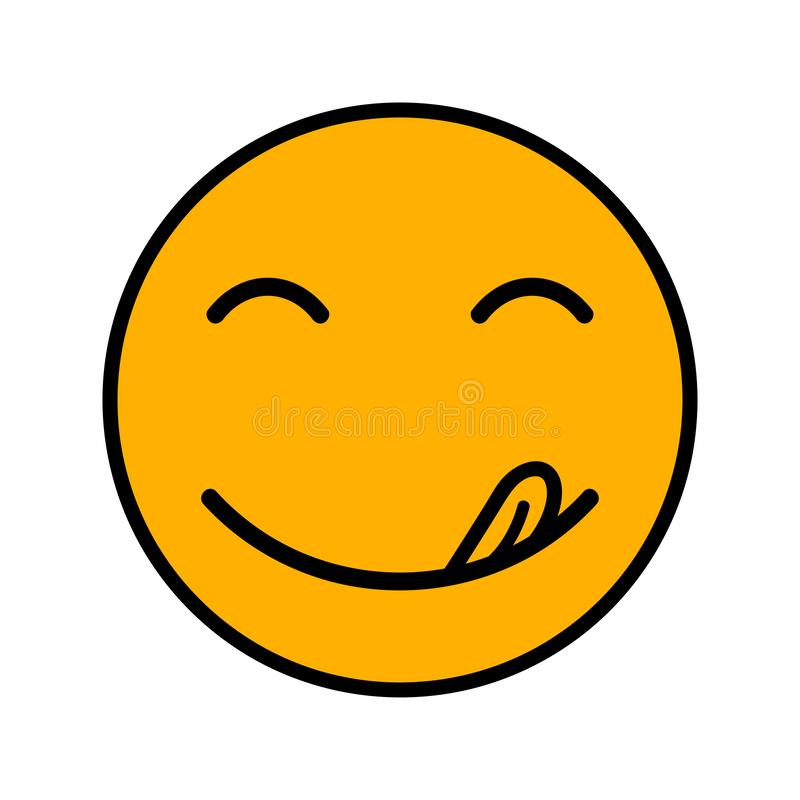 Yummy uśmiech Wyśmienicie, smakowita łasowania emoji twarz, je z usta i jęzoru wyśmienitym cieszy się smakiem ilustracja wektor