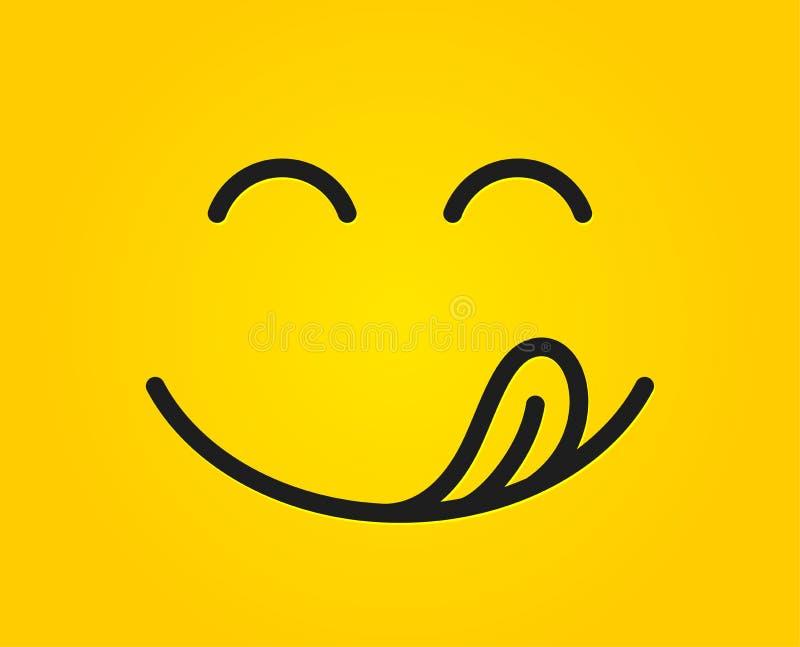 Yummy uśmiechu emoticon z jęzoru liźnięcia usta Smakowita karmowa łasowania emoji twarz Wyśmienicie kreskówki tło wektor ilustracji