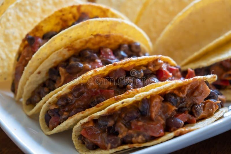Yummy vegetarian tacos extreme closeup. royalty free stock photos