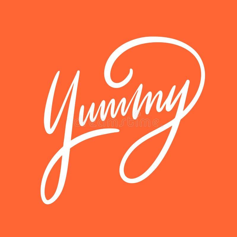 Yummy zoete uitdrukking Hand het getrokken vector van letters voorzien Motieven Inspirational citaat stock illustratie