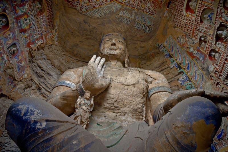 yungang för manjusri för bodhisattvagrottagrottoes royaltyfria bilder