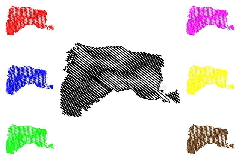 Yunlin okręgu administracyjnego Administracyjni podziały Tajwan, republika Chiny, ROC, okręgi administracyjni kartografują wektor ilustracja wektor