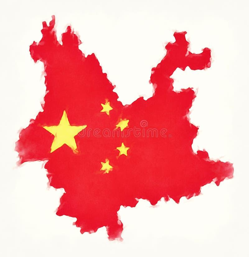 Yunnan akwareli Porcelanowa mapa z Chińskim flaga państowowa illustrat ilustracji