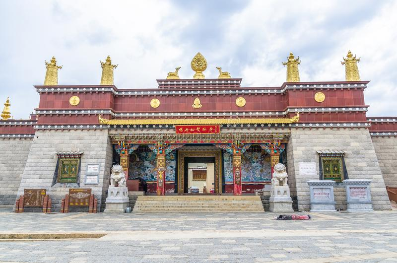 Songzanlin Temple is the largest Tibetan Buddhism monastery in Yunnan Province.It is called the Little Potala Palace or Ganden Sum. Yunnan,China - April 16,2017 royalty free stock images