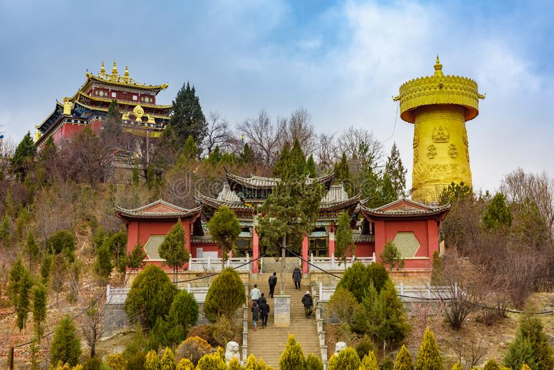 Tibetan style Buddhist temple, Yunnan, China. Yunnan, China - 23 March 2016: Tibetan style Buddhist temple, Guishan Park, Yunnan, China royalty free stock photography