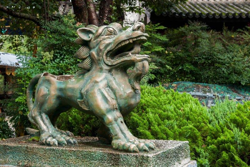 Yunnan Dali Dragon City Bronze Lion arkivbild