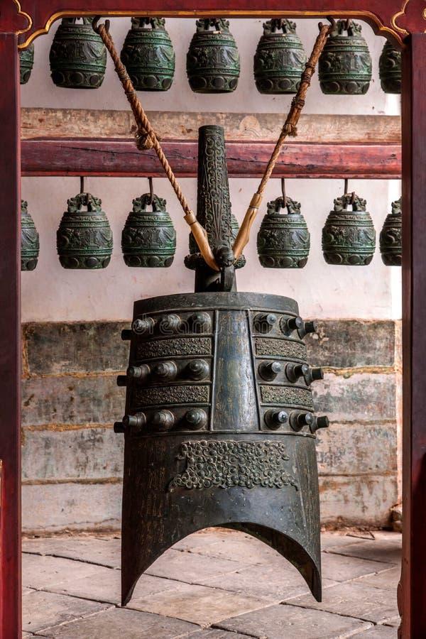 Yunnan Honghe Prefecture Jianshui Temple Great Hall courtyard bells. Yunnan Honghe Jianshui Confucius Temple was built in the Yuan Yuan 22 years (AD 1285), Yuan royalty free stock image