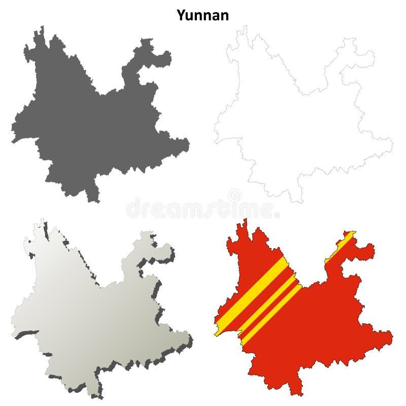 Yunnan konturu mapy pusty set ilustracja wektor