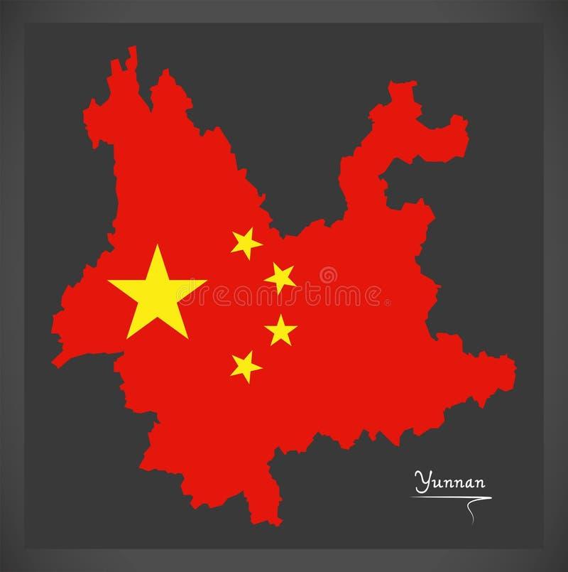 Yunnan Porcelanowa mapa z Chińską flaga państowowa ilustracją royalty ilustracja