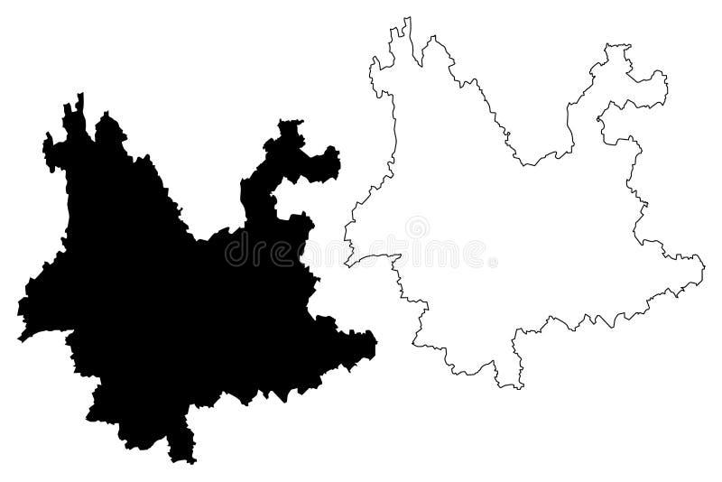 Yunnan prowinci mapy wektor ilustracja wektor