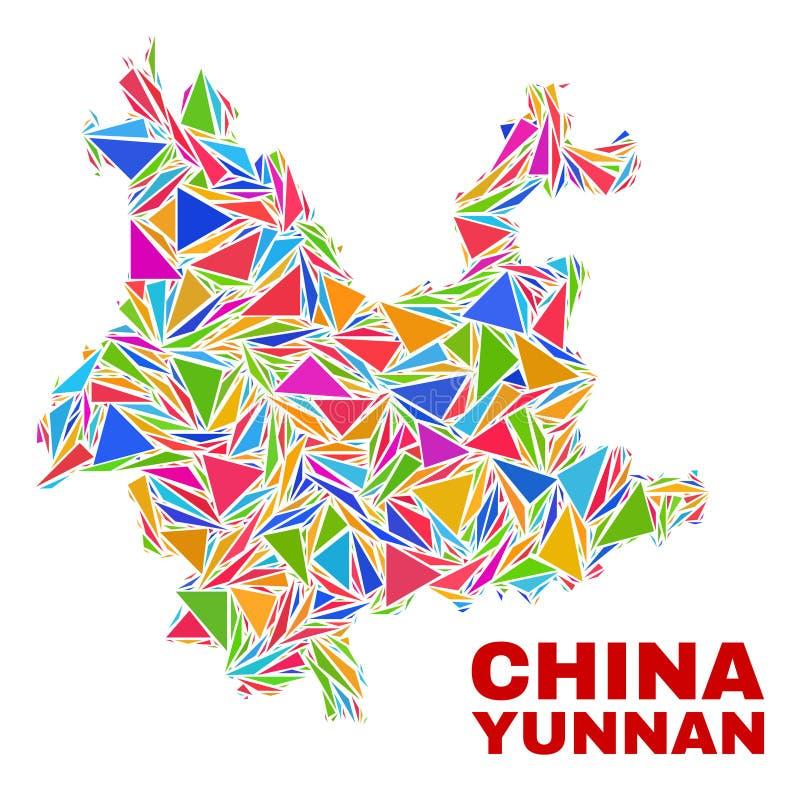 Yunnan prowincji mapa - mozaika kolorów trójboki ilustracji