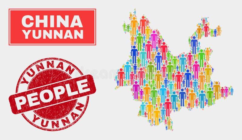 Yunnan prowincji mapy populacji ludzie i Textured Watermark ilustracja wektor