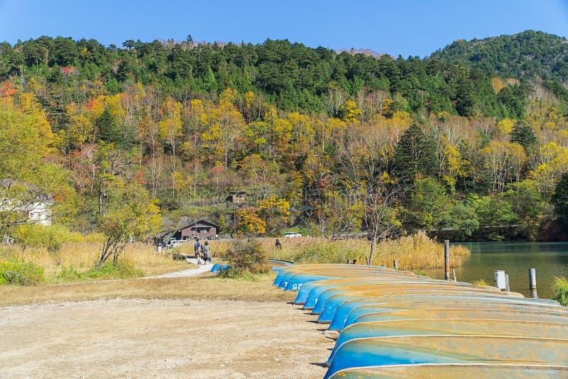 Yunoko See im Herbst, Nikko, Japan lizenzfreie stockfotos