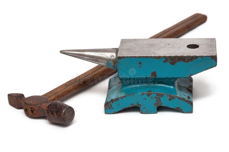 Yunque, martillo herramientas para la forja de la joyería imagen de archivo libre de regalías