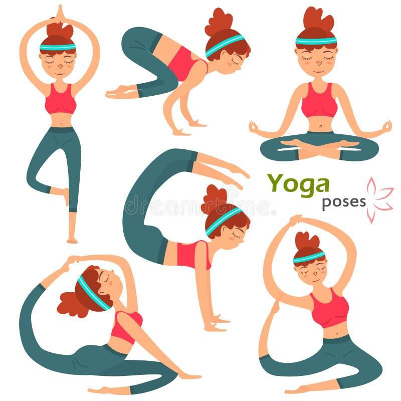 Yuong poserar den gulliga flickan i olik yoga uppsättningen för färgillustrationen som isoleras på vit stock illustrationer