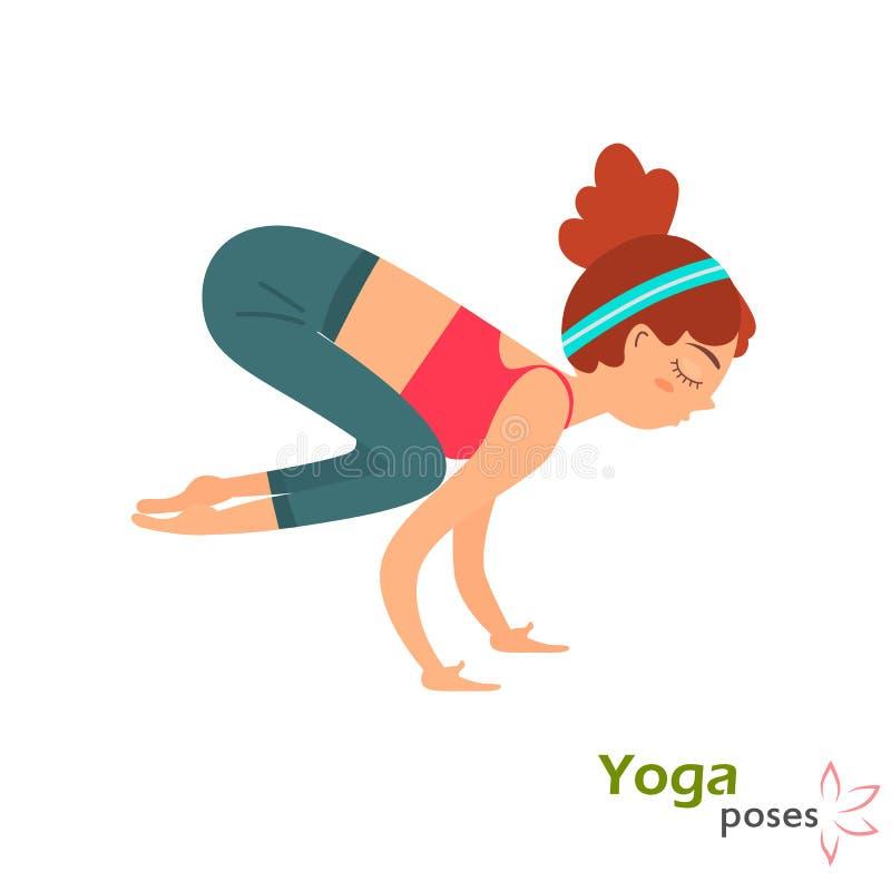 Yuong poserar den gulliga flickan i yoga färgillustrationen som isoleras på vit royaltyfri illustrationer
