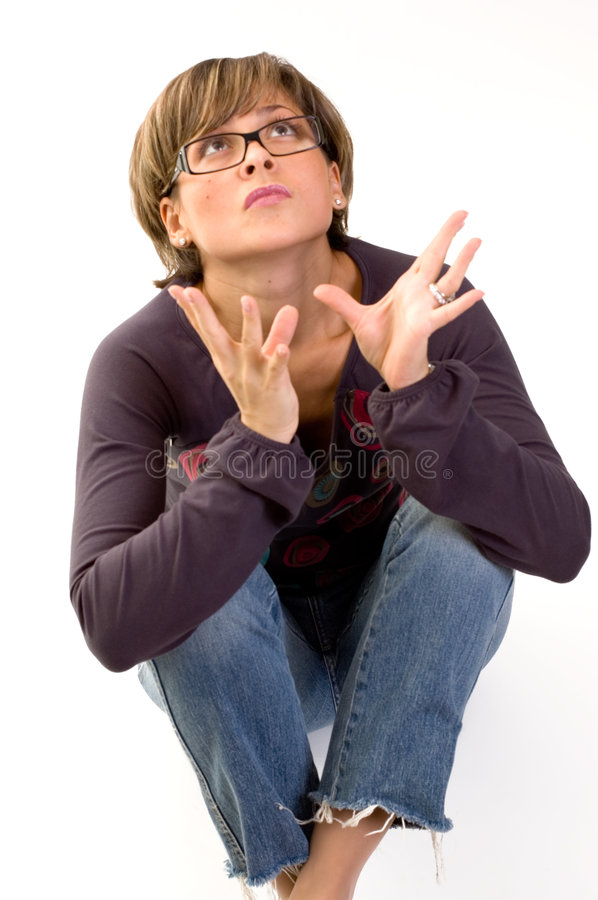 Yuppie girl sitting on the floor royalty free stock photo