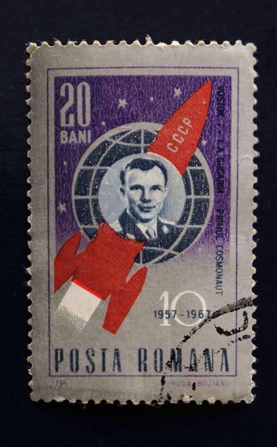 Yuri Gagarin Vintage Stamp 1961 stock photography
