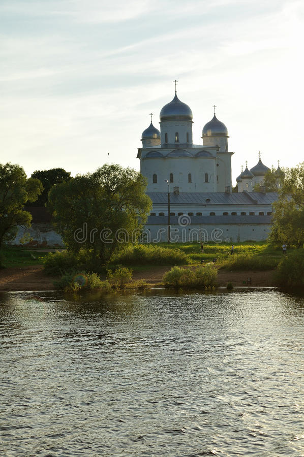 Yuriev male monastery on the bank of the Volkhov river at sunset in Veliky Novgorod, Russia - architecture landscape royalty free stock images