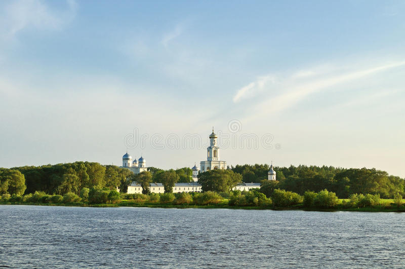 Yuriev male monastery on the bank of the Volkhov river at sunset in Veliky Novgorod, Russia stock photo