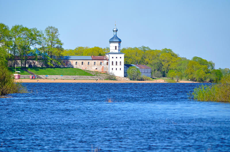 Yuriev male monastery on the bank of the Volkhov river in Veliky Novgorod, Russia royalty free stock photos