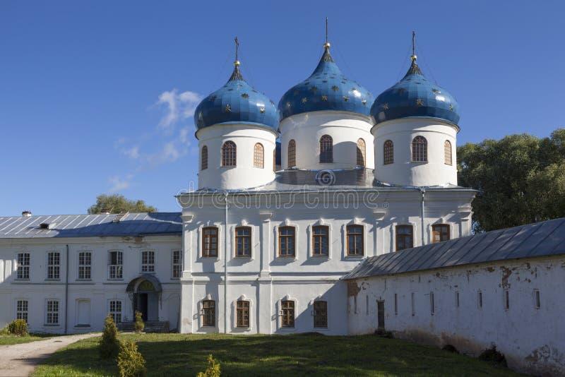 Yuriev Monastery. Holy Cross Cathedral. Velikiy Novgorod stock images
