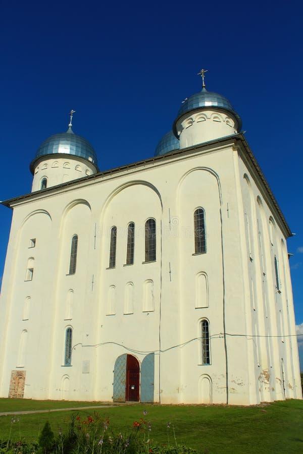 Yuriev of St George Monastery Yurievo, Veliky Novgorod, Rusland stock fotografie