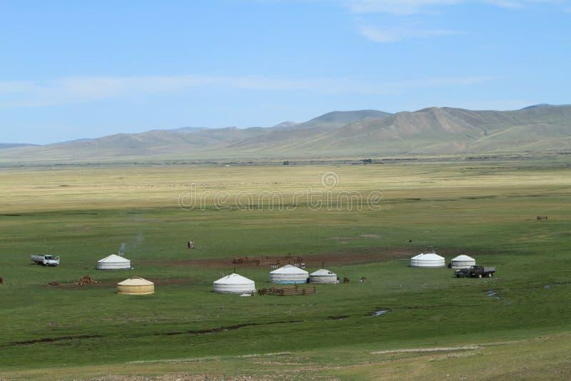 Yurt村庄蒙古 免版税库存照片