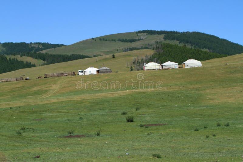 Yurt村庄蒙古 图库摄影