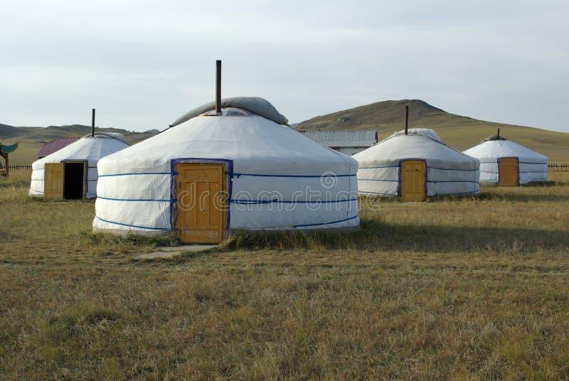 Yurt camp in Mongolia royalty free stock image