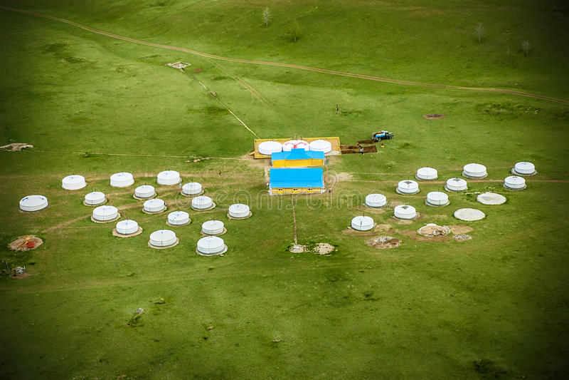 Yurt camp in Mongolia stock image
