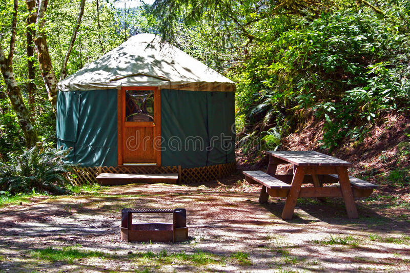 Yurt Camping In The Woods Royalty Free Stock Photo