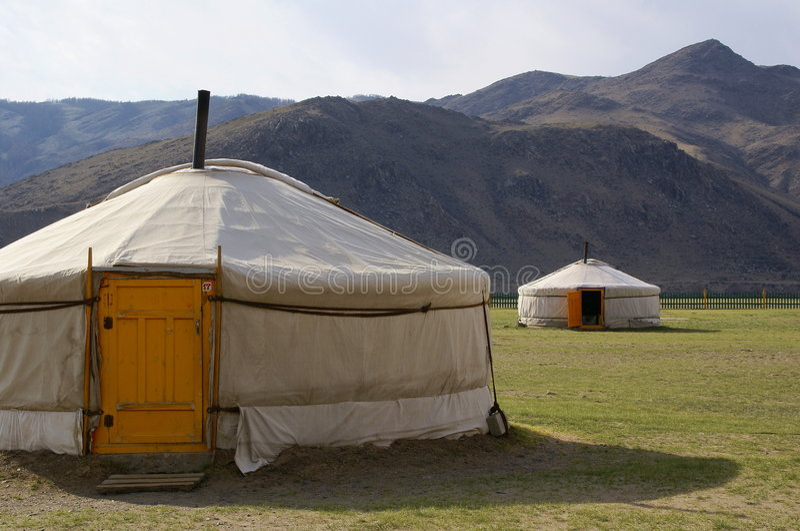 Yurt campsite mongolia royalty free stock photography
