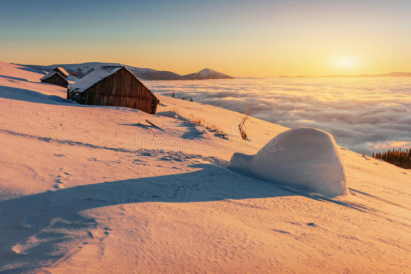 Yurt and chalets in the mountains in the west.  stock photography