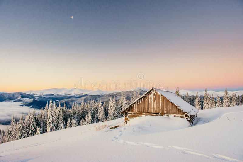 Yurt and chalets in the mountains in the west.  royalty free stock images