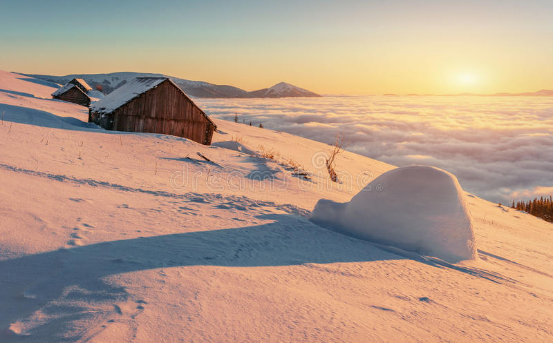 Yurt and chalets in the mountains in the west.  stock images