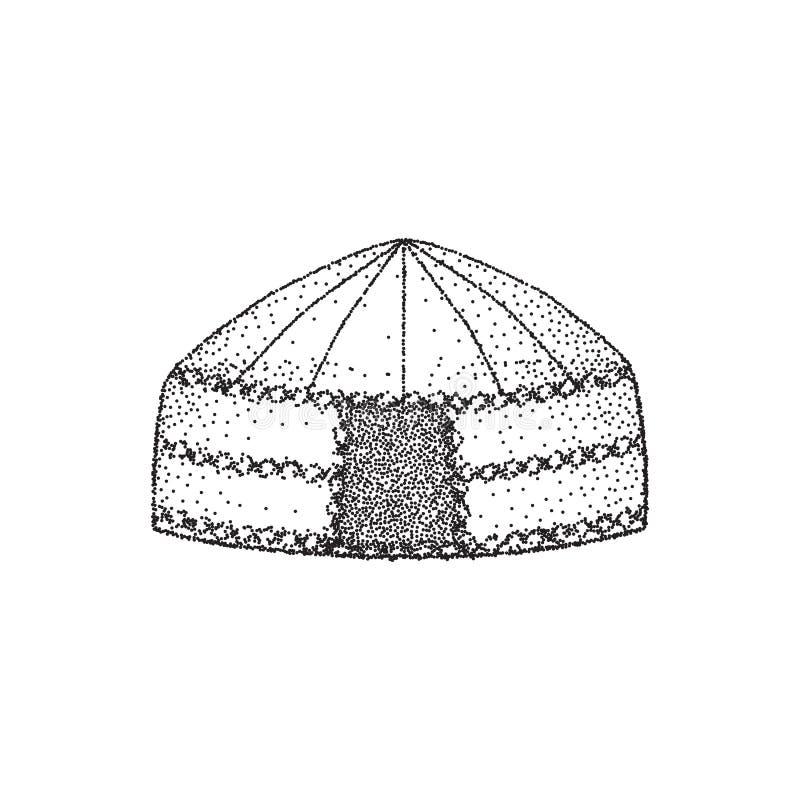 Yurt dei nomadi Tiraggio della mano Disegno di schizzo Illustrazione di vettore illustrazione vettoriale