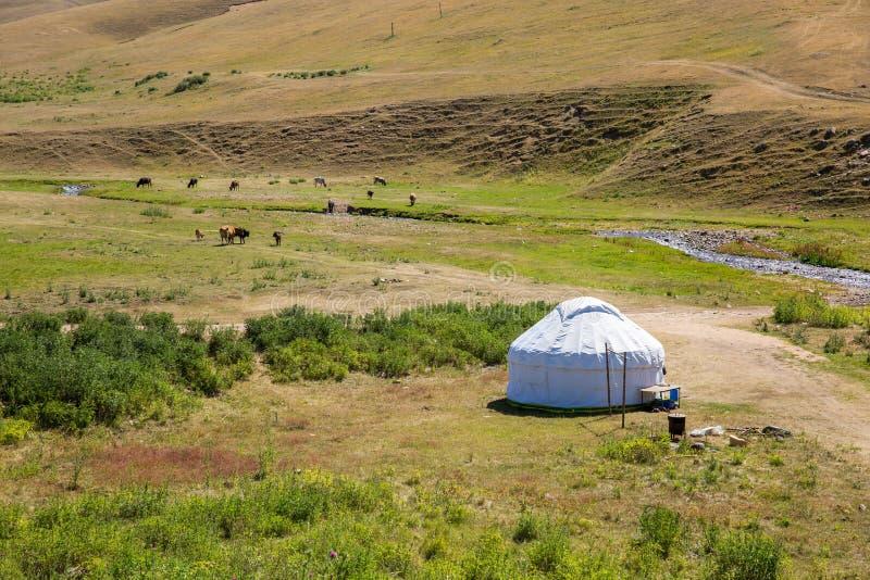 Yurt del Kazakh en meseta del montaje en la montaña de Tien Shan en Almaty, Kazajistán, Asia en el verano fotografía de archivo libre de regalías