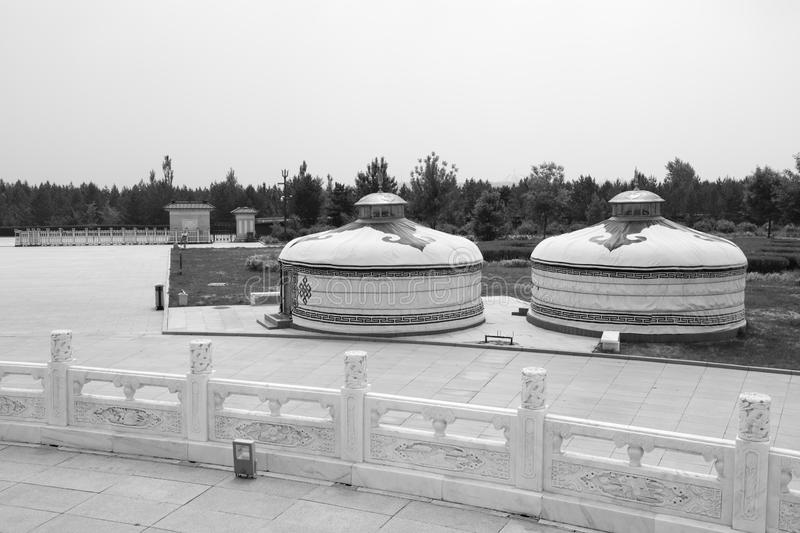 Yurt in genghis khan mausoleum, black and white image. Yurts of genghis khan mausoleum at ordos city, china. tiemuzhen, may 31, 1162 - august 25, 1227, khan of royalty free stock photography