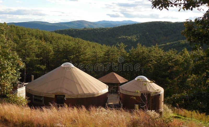 Yurt home in North Carolina Appalachian mountains. In summer royalty free stock photo