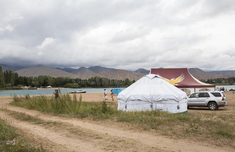 Yurt of Issyk Kul lake in Kyrgyzstan stock images