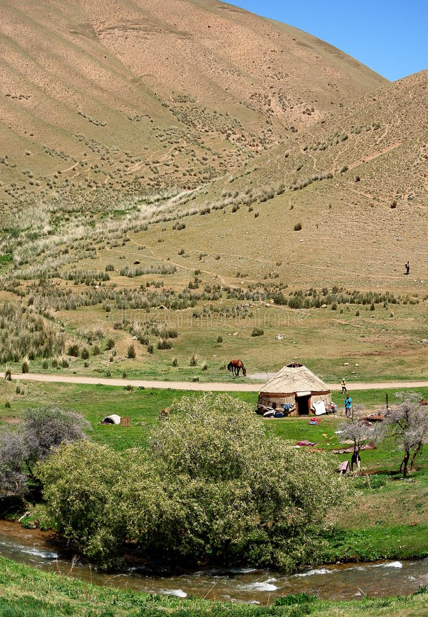 Yurt in Kyrgyzstan landscape stock photography