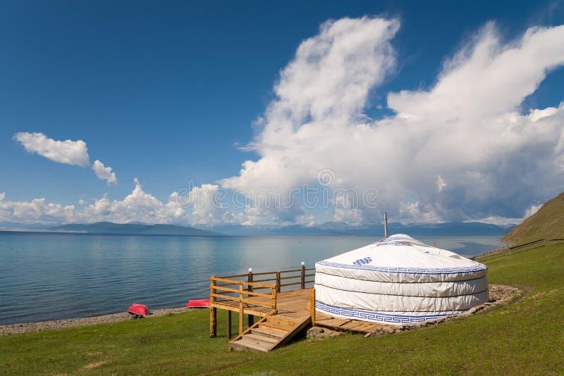 Yurt on the shores of Lake Hovsgol, Mongolia stock image