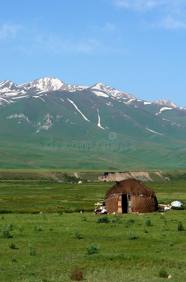 Yurt on steppe royalty free stock image