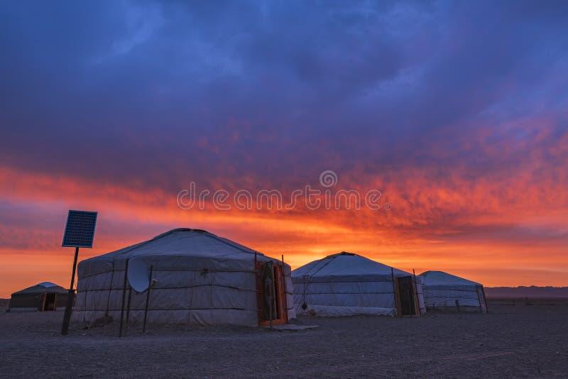 Early Morning View of Traditional Yurt mongolian family in Mongolia landscape Gobi Desert at sunrise. stock image
