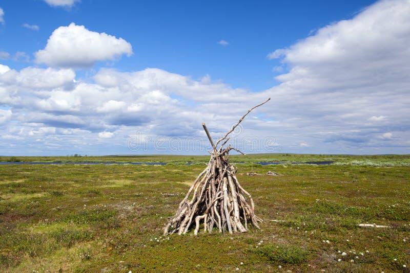Yurt in tundra. Small yurt of reindeer man in the tundra stock photo
