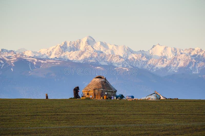 Yurt under the sunrise stock photo